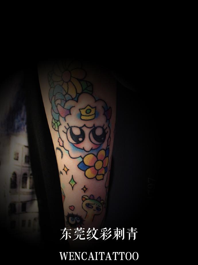 东莞佟小姐小臂可爱的拼接纹身